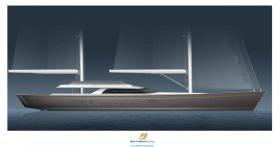 Design study for 140 feet fast cruising ketch.