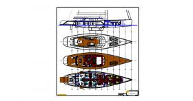 General arrangement drawing of interior and deck area for 140 ft fast cruising yacht.